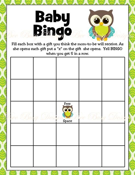 Baby Shower Bingo Printables by Printable Boy Owl Woodland Baby Shower Bingo Bee Busy Designs