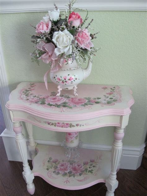shabby chic pink table with roses painted furniture