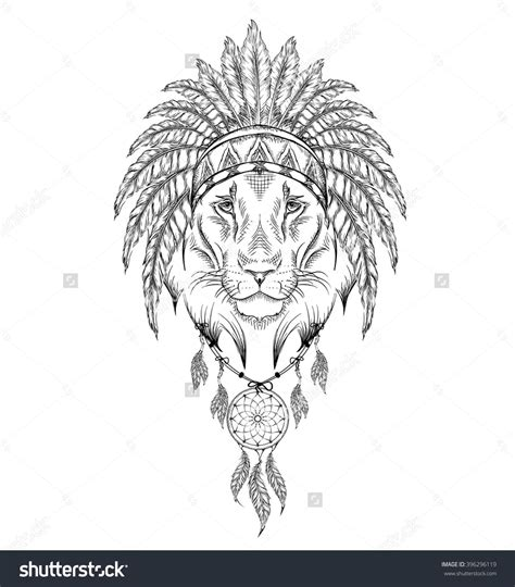 indian lion tattoo in the indian roach indian feather headdress of