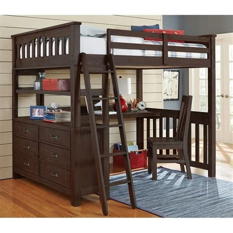 Bunk Beds With Loft And Desk Ne Highlands Loft Bed With Desk In Espresso 11080nd