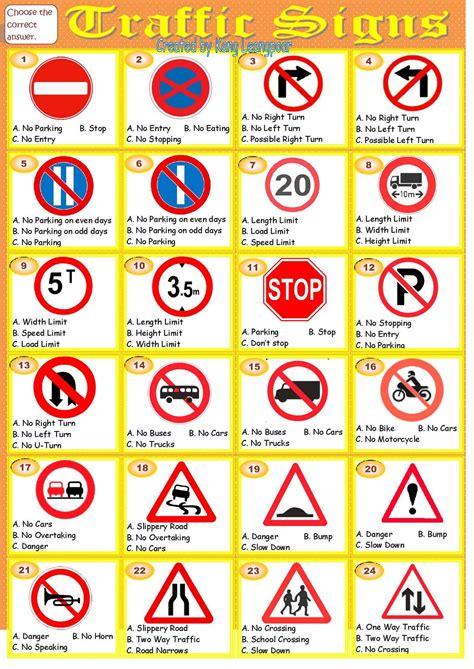 free printable worksheets road signs kang leangpoar ក ង ល ងប my esl printable worksheet