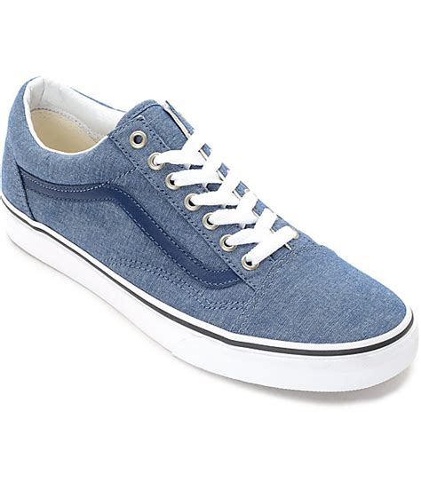 Vans Oldskool Chambray Addict3d vans skool blue chambray skate shoes at zumiez pdp