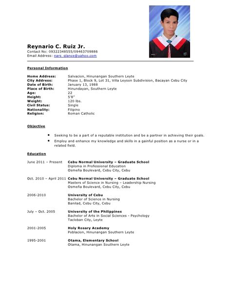 Sample Format Of Resume In The Philippines by Resume