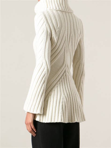 Line Color Thick Cardigan S854 lyst mcqueen thick ribbed sweater in white