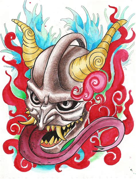 hannya mask tattoo deviantart hannya tatto by kkmilo on deviantart