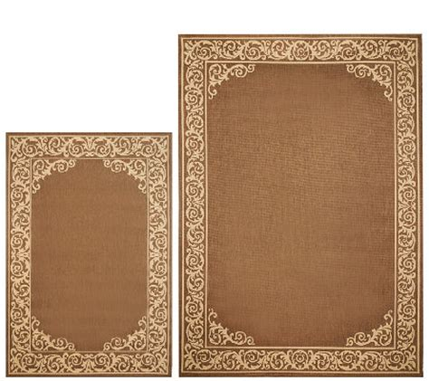 Veranda Living Outdoor Rugs Veranda Living Border Scroll Design Indoor Outdoor Reversible Rug Qvc