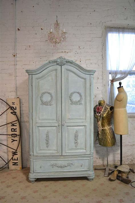 Cottage Armoire by Painted Cottage Chic Shabby Aqua Armoire Am44