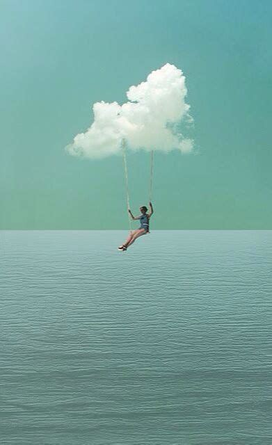 swings heaven girl on swing over water clouds surreal art art