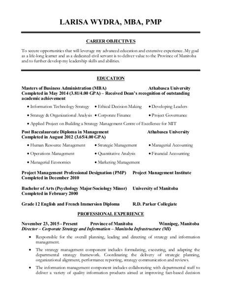 Mba Pmp Resume by Larisa Wydra Resume