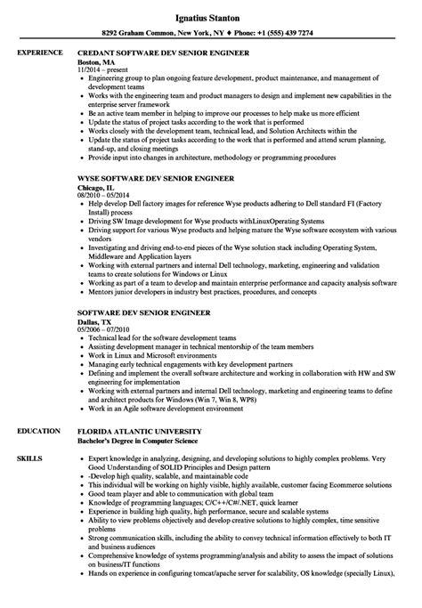 software dev senior engineer resume sles velvet jobs