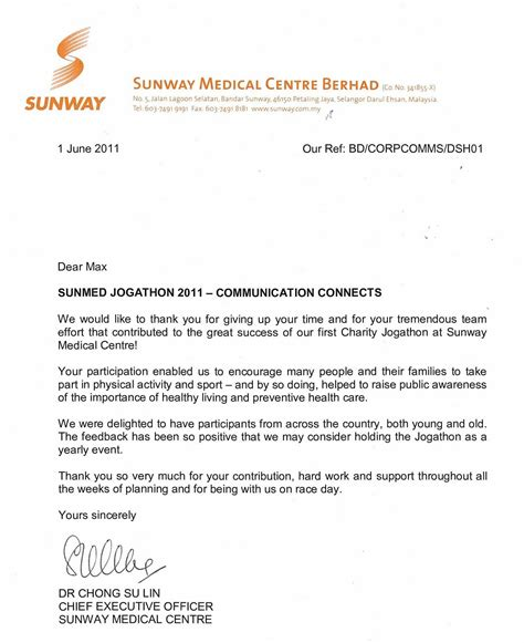 Thank You Letter Ceo Running With Thank You Letter From Sunway Ceo