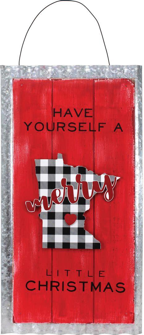merry mn buffalo plaid tin plaque crafts direct