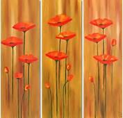 Pintura De Flores Al Leo Cuadros Tripticos Modernos
