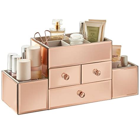 Mirrored Makeup Drawers by Beautify Large Mirrored Gold Glass Jewelry Box