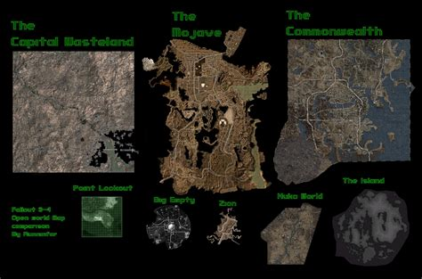 fallout world map fallout open world map size comparison with measurements