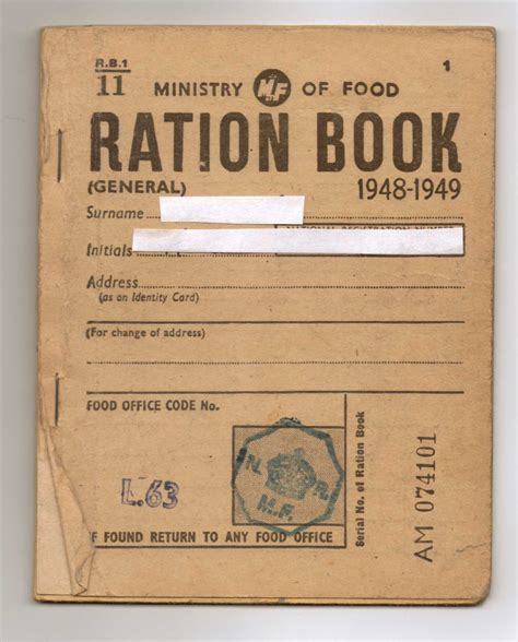rationing book template ministry of food ration book 1948 i remember us taking