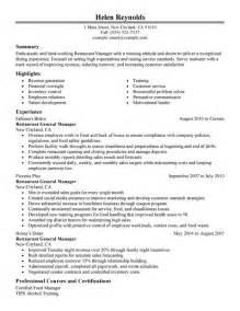 Resume Exles For Restaurant restaurant manager resume sle my resume