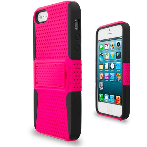 hybrid mesh heavy duty color cover with stand for iphone 5 5g 5s