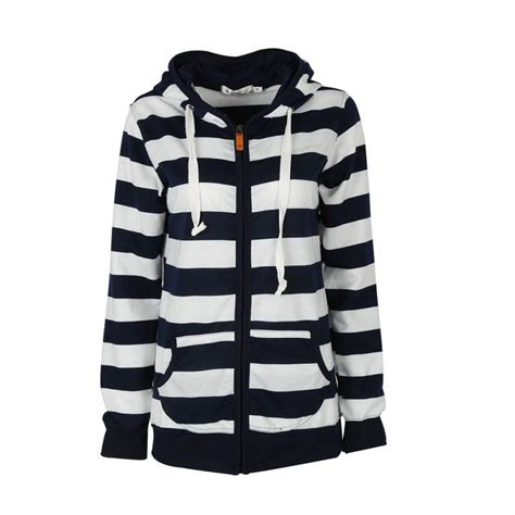 Striped Hooded Blouse casual hooded striped sleeve blouse