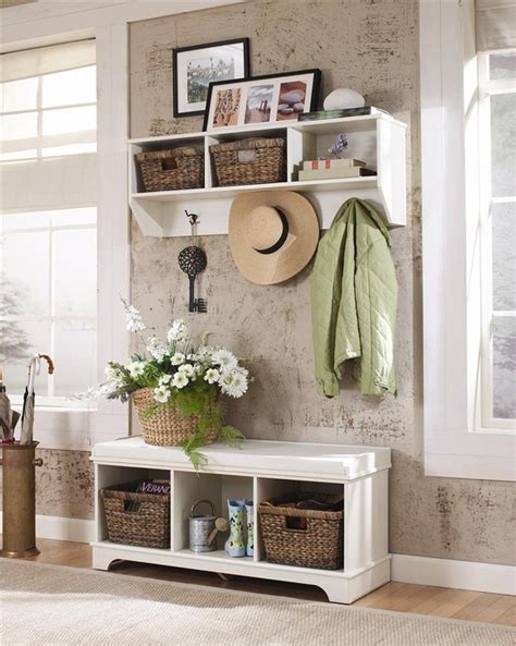 entryway table with baskets white design entryway bench with baskets stabbedinback