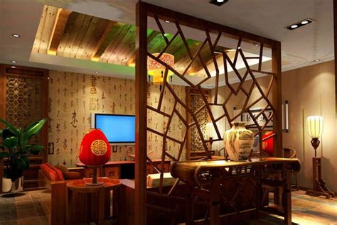 wood partition living room interior design chinese style