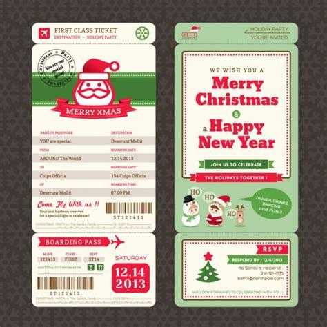 Kostenlose Vorlage Weihnachtskarte Weihnachtskarte Im Bordkarte Ticket Stil Vorlage Der Kostenlosen Vektor