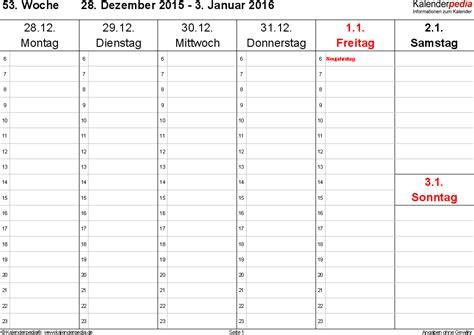 word layout querformat wochenkalender 2016 als word vorlagen zum ausdrucken