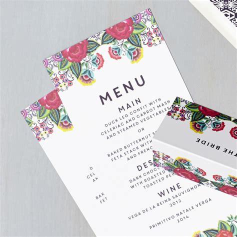 I Do Wedding Stationery by Floral Folk Menu Says I Do