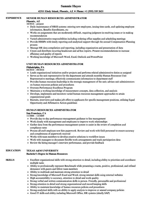 human resources administrator resume sles velvet