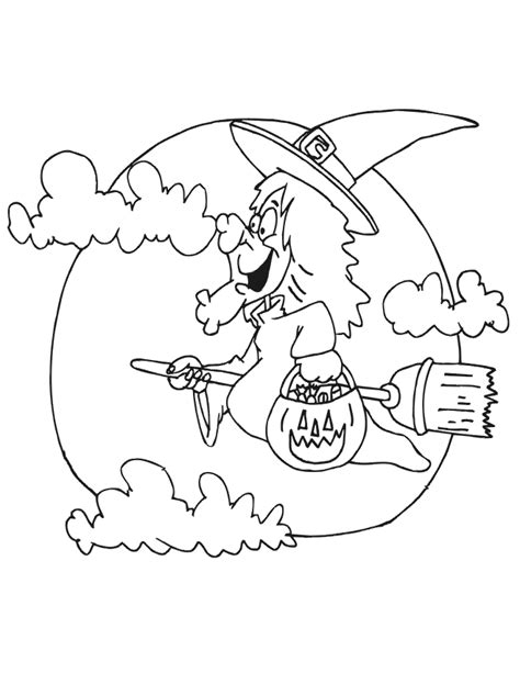 coloring pages witch on a broom halloween coloring pages for kids free coloring pictures