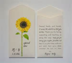 Sunflower Seeds Wedding Favors by Sunflower Seed Packet Wedding Favor Envelopes Many Colors