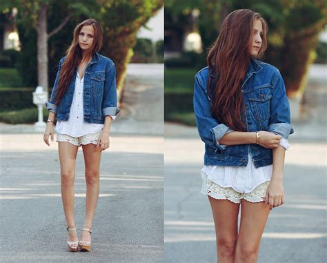 How To Wear A Jean Jacket Without Looking Like A Bag by Bethany Struble Lace Shorts Levi S 174 Levi S Denim Jacket