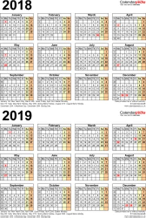 2 year calendar template two year calendars for 2018 2019 uk for pdf