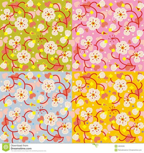a seamless repeating retro floral blossom floral seamless repeat patterns stock