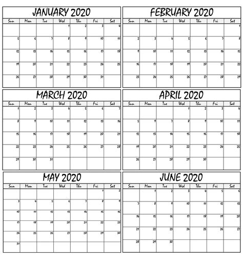january  june  calendar template    world  calendars