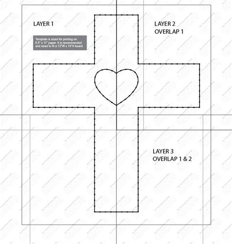 Cross String Template Cross With Heart String Art Template
