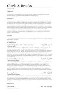 middle school math resume