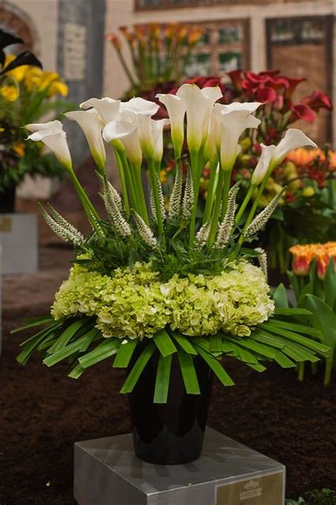 Beautiful Wedding Flower Arrangements by Calla And Green Hydrangea Reception Wedding Flowers