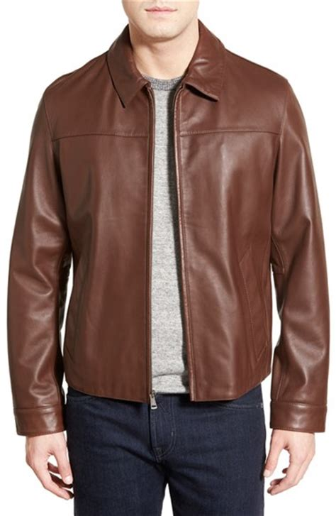 cole haan brown leather jacket cole haan regular fit leather jacket in brown for lyst