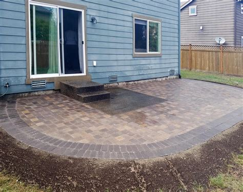 concrete patio pavers paver patio extension ajb landscaping fence