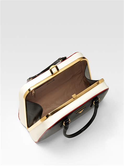 Prada Vernice Gaufre Frame Bag by Prada Saffiano Vernice Frame Pyramid Tophandle Bag In