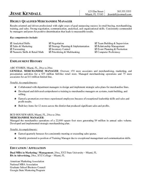 Resume Exles For Retail Merchandising Exle Merchandise Manager Resume Free Sle