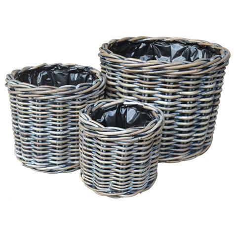 Basket Planter by Buy Exbury Rattan Planter Charcoal Grey The Basket