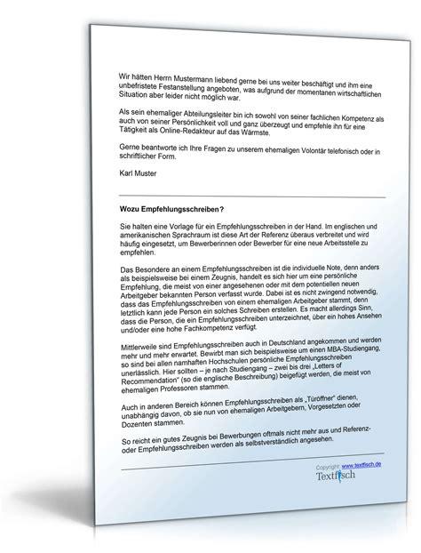 Musterbriefe Zum Thema Karenz Empfehlung Eines Volont 228 Rs Muster Vorlage Zum