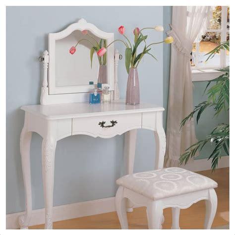 White Makeup Vanity Set by Coaster Wood Makeup Vanity Table Set With Swivel Mirror
