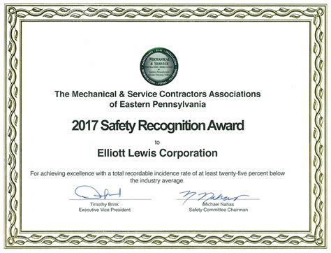 safety recognition certificate template safety program elliott lewis