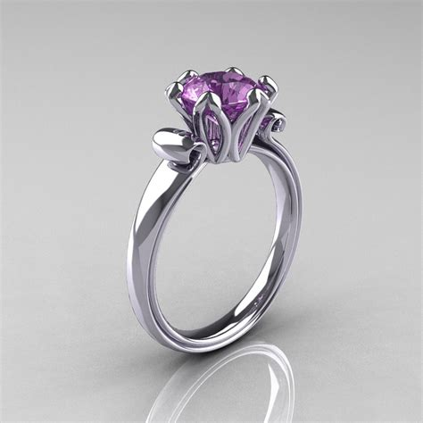 modern antique 10k white gold 1 5 carat lilac amethyst