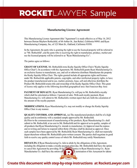 Manufacturing License Agreement Template manufacturing license agreement template with sle