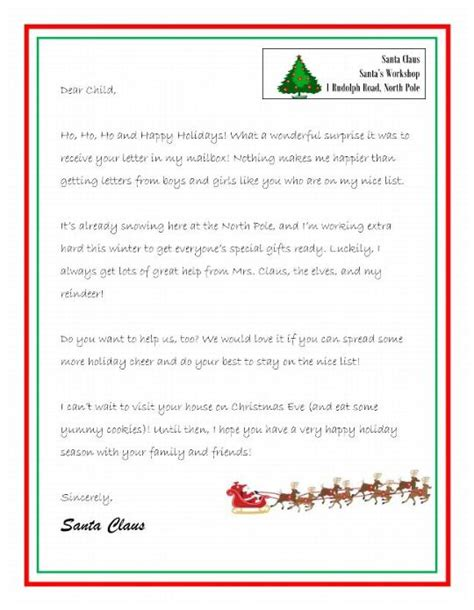 Response Letter From Santa letters to santa