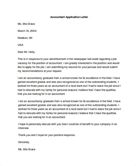 Application Letter Format Accountant Sle Application Letter 18 Exles In Pdf Word